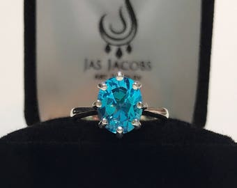 BEAUTIFUL 3ct Paraiba Blue Topaz Ring Woven Crown Sterling Silver Sizing 4 5 6 7 8 9 10 Trending Jewelry Gift Mother Bride Wife Daughter