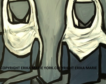 Cloth Girls Two Original Painting by Erika York 24 in. by 24 in. Canvas