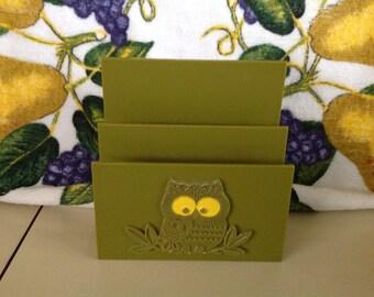 Vintage Avocado Owl Plastic Napkin or Letter holder.