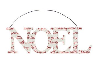 Red & White Noel Hanging Christmas Plaque
