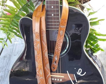 Guitar Strap / Handcrafted/ Hand Painted/ Hand Tooled / Leather Guitar Strap / Acoustic,  Electric, Bass Guitar Strap