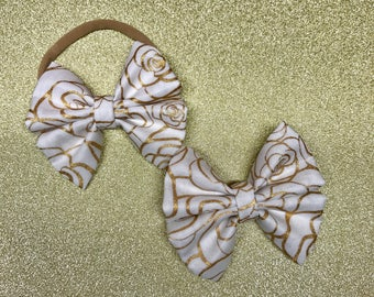 Gold Rosette Bow Headbands and Bow Clips