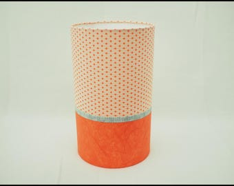 Table lamp cylindrical orange Japanese paper with orange stars