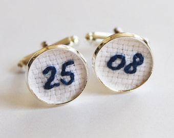 Wedding Date Embroidery Cuff Links Cotton Anniversary Gift, Blue Navy Groom Personalized Cufflinks Groom Gift for Him Birthday Cufflinks