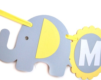 Baby Shower Banner , Elephant Baby Shower Banner , Baby Yellow and Grey, Welcome Baby Shower Banner, Neutral Elephant Handmade Banner,  A460