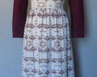 Purple and White 70s Maxi Dress with Geometric Design