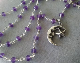 Amethyst and Sterling Silver Crescent Moon Necklace