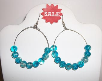 Vintage Beaded Hoop Earrings  Turquoise Blue Silver  Beads Costume Jewelry Design Dangle Women's Fashion Pierced Statement Piece wvluckygirl