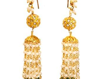 Pearl bridal earrings with Green Jade,22K pure gold hook,freshwater pearls,waterfall pearl earrings handmade by Taneesi