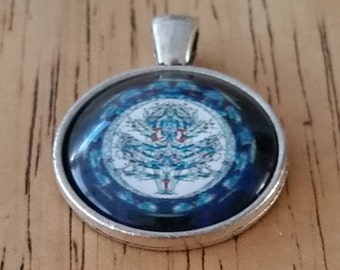 1 - Silver - Glass Cabochon - Pendant - Necklace - Flower in Center -  The size is 36mm x 28mm