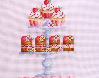 Pastry chef gift. Finished cross stitch Foodie gift. Housewife gift. Cottage chic wall decor. Home. dessert. Housewarming gift under 45euros