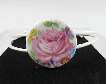 China Bracelet, Made with Windsor Vintage Bone China, Rose Bracelet, Broken China Jewelry, Bangle, Silver Plated