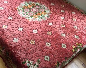 Vintage Cut Velvet Chenile Bedspread Coral Swirls And Flowerd