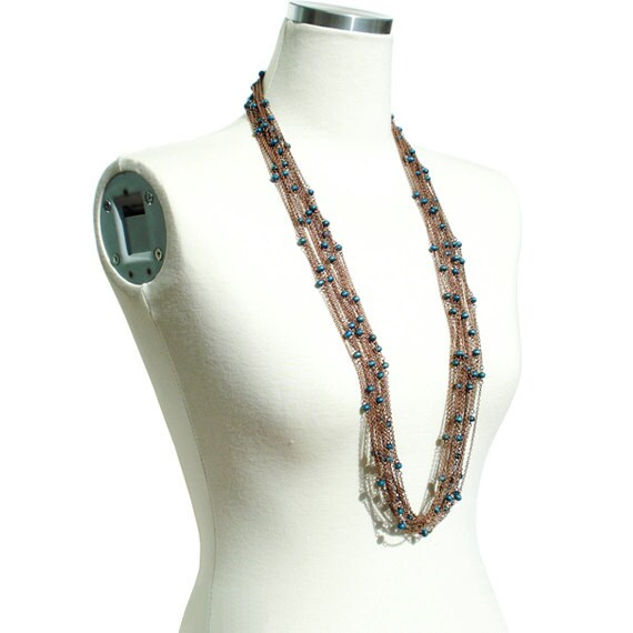 Boho Chic Long Necklace - Teal