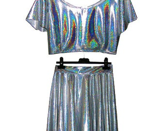 HandMade Holographic  Coordinate Crop Top and skater skirt  XS - S - M - L - XL Various Colors