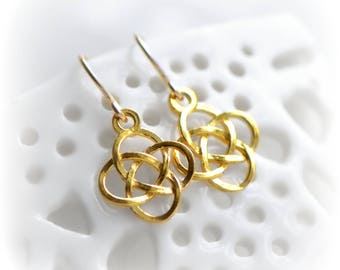Celtic Knot Earrings, Small Celtic Dangle Earrings in Gold, Earrings, Celtic Gift for Her, Love Knot Earrings, Gold Irish Earrings Blissaria