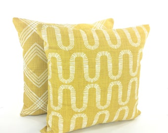 Decorative Yellow Throw Pillow Covers Tuscan Yellow Gold Textured Pillow Couch Sofa Pillow Cushion Modern Designer Slub Canvas Various Sizes