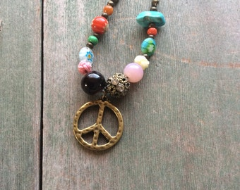 Peace of Mind Necklace/Boho/Hippie/Multi Bead/Colorful