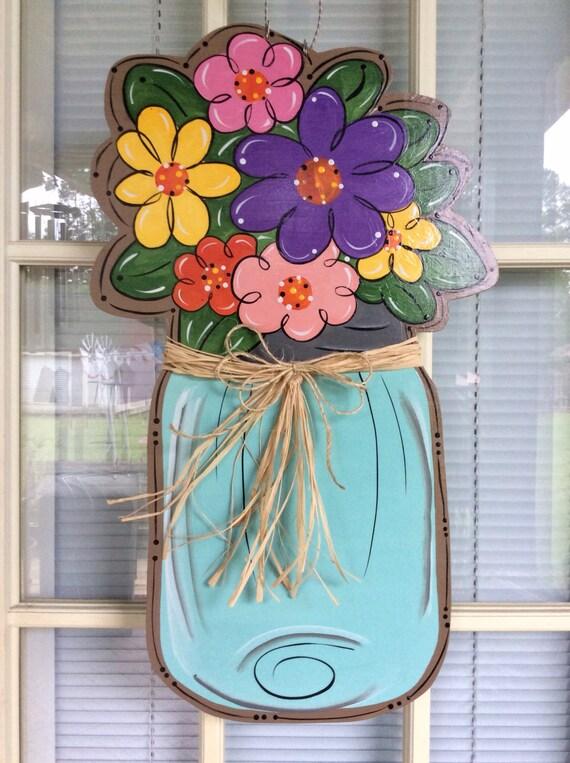 Front door decor Spring door hanger Mason jar mason jar