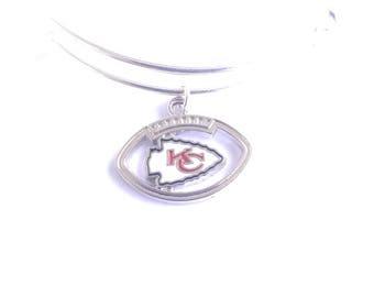 Kansas City Chiefs football team charm bangle bracelet