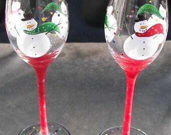 Snowmen Wine Glasses,handpainted snowmen,glasses,painted snowmen,snowmen painted,Christmas glasses,holiday wine glass,hand painted wine
