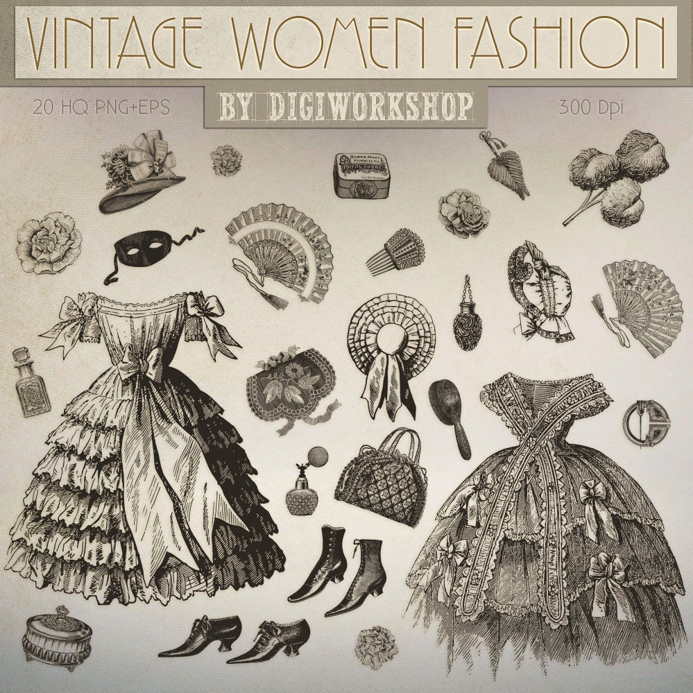 Fashion Clip Art Vintage Women Victorian