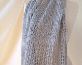 Silver Frost Scarf/Stole Knitting Pattern PDF