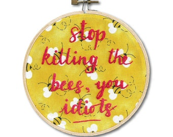 Bee lover embroidered hoop