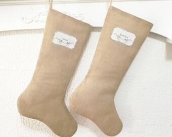 Personalized Burlap Christmas Stocking, French Country Christmas Stocking, Shabby Chic Christmas stocking