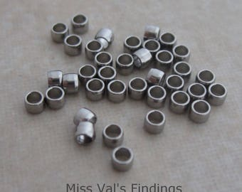 50 stainless steel crimp beads 2mm round
