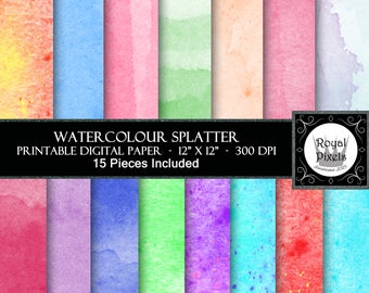 15 Digital Paper Backgrounds - Water Colour - Printable or Digital Paper #114