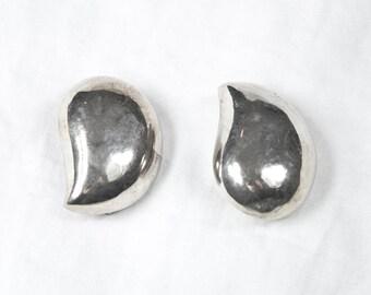 Vintage 925 Sterling Silver Simple Retro Large Drop Clip On Earrings