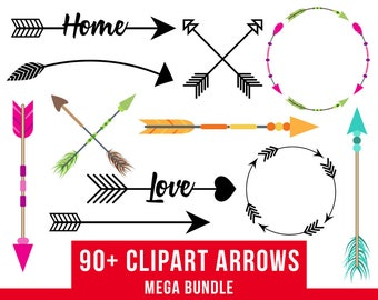 90 Arrows Clipart Mega Bundle Tribal Arrow Rustic