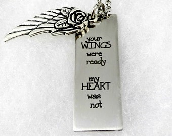 Your Wings Were Ready My Heart Was Not - Remembrance  Memorial Necklace - Loss Loved Ones Parents Mom Dad Grandma  Jewelry
