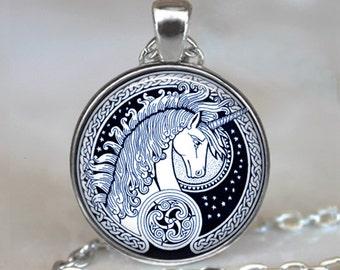 Celtic Unicorn necklace, unicorn pendant unicorn jewelry Celtic jewelry fantasy jewelry unicorn necklace key ring keychain key chain key fob