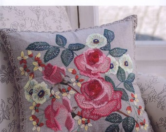 """21 EMBROIDERY ROSE PATTERN-""""Rose Collection 7-Totsuka Embroidery""""-Japanese Craft E-Book #503.Four Instant Download Pdf files."""