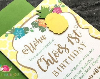 Pineapple Party Invitations · A6 FLAT· Sunshine Yellow and Green · BBQ Invite | Sweet Summer Socials | Picnic or Luau Invites | Die cut