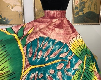 1950s Hand Painted and Sequined Mexican Circle Skirt by Maya de Mexico -- Vibrant Tropical Leaf Design with Sparkling Embellishments