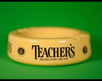 ashtray, porcelain, Teacher's Highland cream highland china, scotland, 70's, porcelain, whisky advertising ashtray, Oddments deco