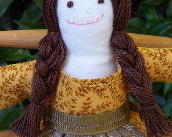Small rag doll -  Annie in golden yellow dress with brown apron