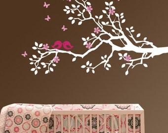 Nursery wall decal branch vinyl decal children decal birds decal  customized decal