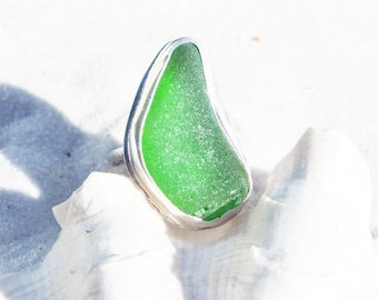 Green Sea Glass Ring, Size 7 1/4 Ring, Sea Glass Jewelry, Seaglass Ring, Sterling Ring, Lake Jewelry, Bottle Ring