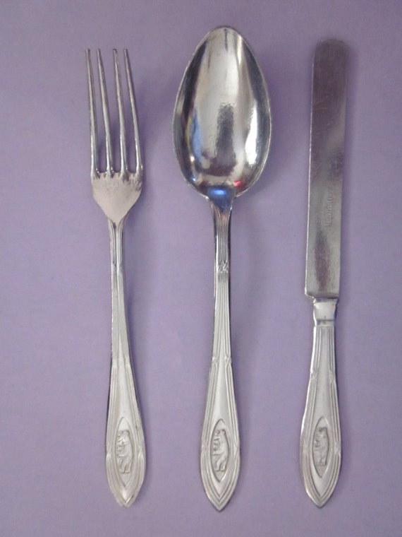 & Items similar to Vintage Aluminum Flatware Play Pretend Germany on Etsy