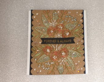 Handmade Fancy Foreever and Always Floral Wedding Card, Anniversary and, Engagement Card