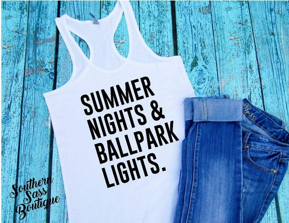b686929b7dc summer nights and ballpark lights softball mom baseball shirt l