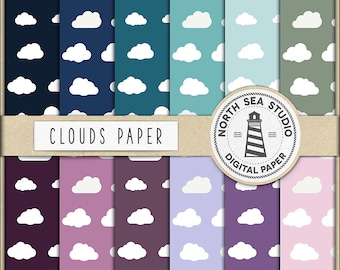 DREAM ON, Clouds Digital Paper, Clouds Backgrounds, Cloudy Skies, For Scrapbooking, Invitations, Card Making, 12 JPG 300 dpi Files, BUY5FOR8