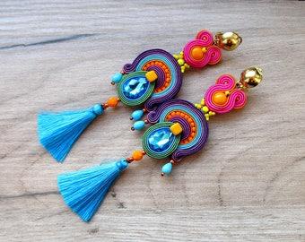 Long Tassel Earrings, Colorful Clip-On Earrings, Soutache Earrings, Boho Dangle Earrings, Handmade Earrings, Fringe Earrings, Crystals