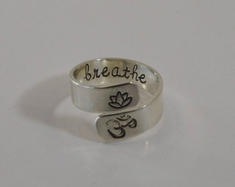Sterling Silver Yoga ring - hand stamped