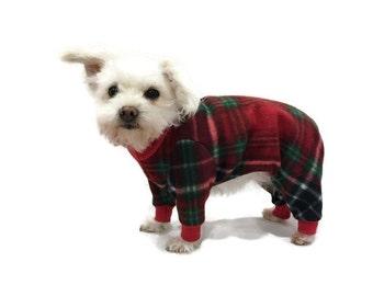 Red Plaid Fleece Dog Pajamas-Christmas Dog Pajamas-Christmas Dog Onesie-Dog Clothes-Fleece Dog Pajamas-Dog Clothing-Plaid Dog Onesie