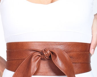 Dark Tan Leather Tulip Tie Obi Belt | Waist or Hip Belt | Real Leather Belt| Handmade Belt | Wrap Belt | Petite to Plus size